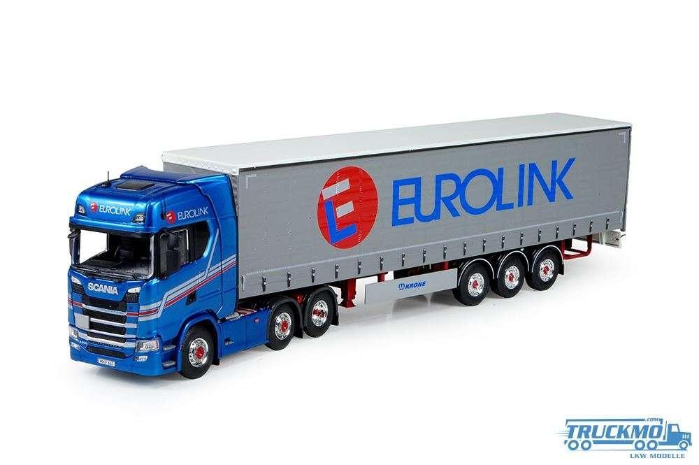 Tekno Eurolink LKW Modell Scania S-serie Highline mit Planenauflieger 72899