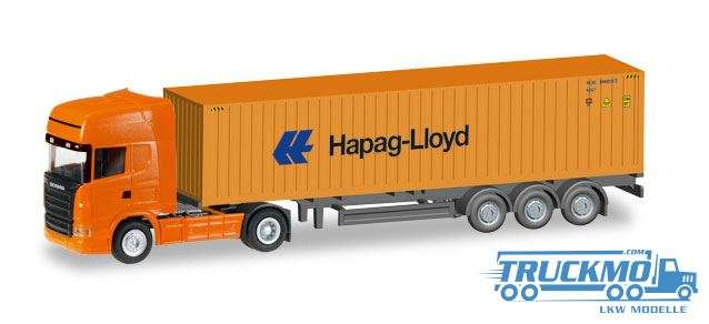 Herpa Hapag Lloyd LKW Modell Scania R TL Container-Sattelzug 066594 1:120