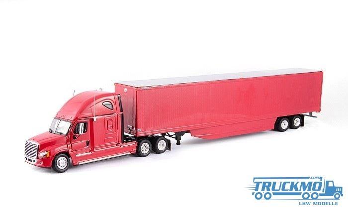Tonkin Freightliner Cascadia Sleeper Cab Raise Roof 6x4 + Van Trailer Red LKW Modelle