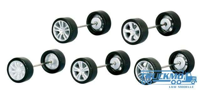 Herpa PKW Felgen für Mercedes-Benz Modelle, silber lackiert 053389
