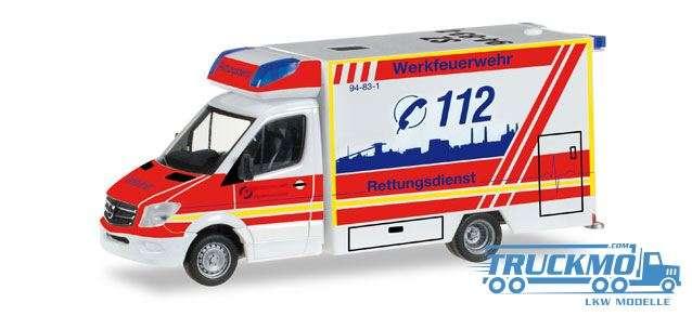 Herpa Werkfeuerwehr Salzgitter Mercedes-Benz Sprinter Fahrtec Rettungswagen 092340