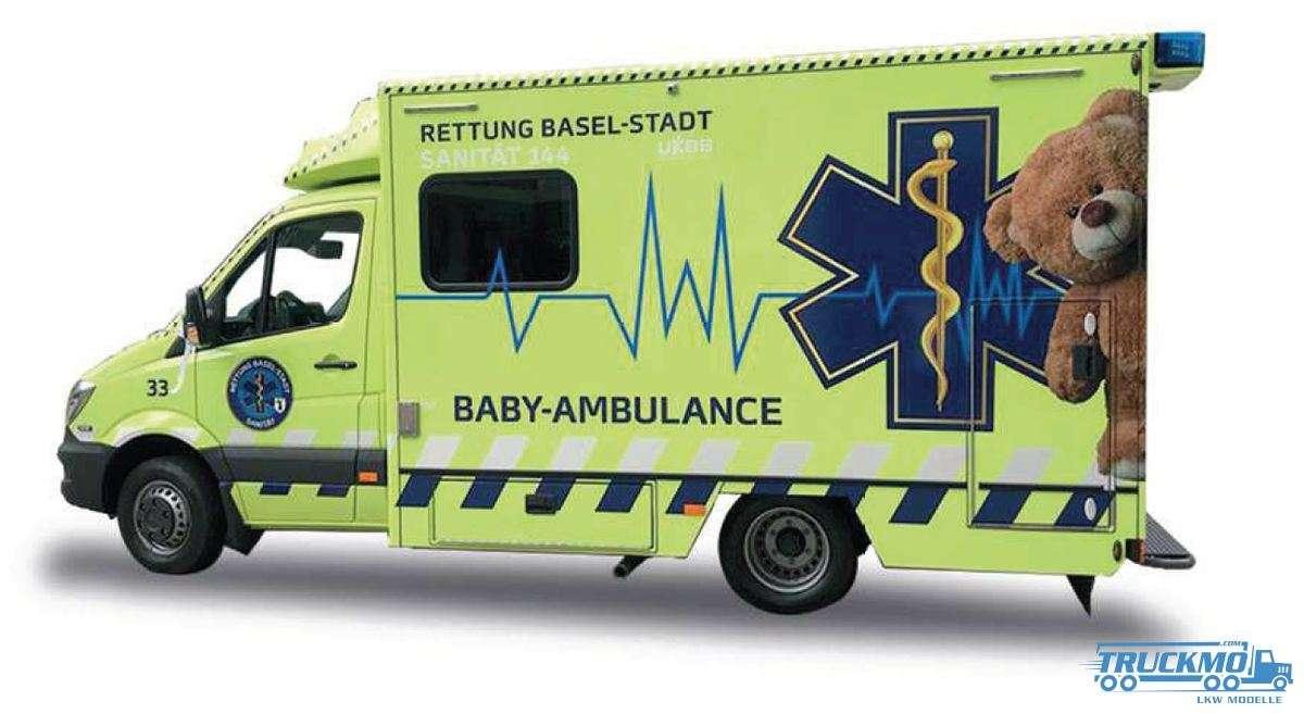 Herpa Stadt Basel Baby Ambulance Mercedes Benz Sprinter 13 Fahrtec RTW 938051