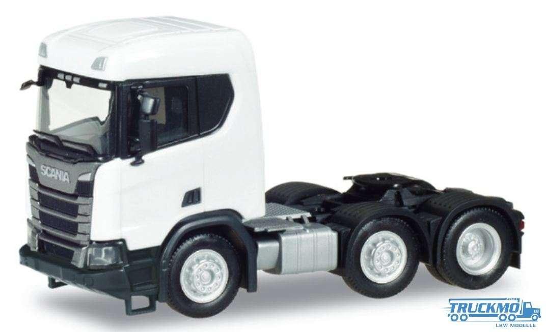 Herpa Scania CR XT ND Bau Zugmaschine 3 Achs weiß 309028
