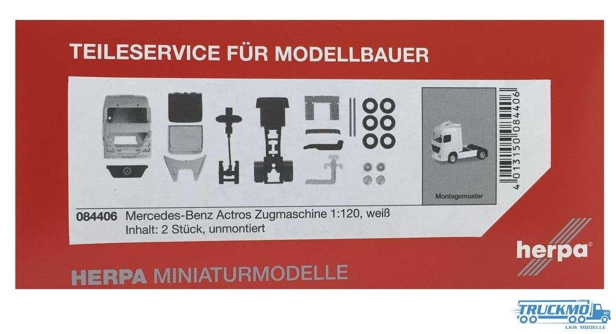 Herpa Mercedes-Benz Actros Zugmaschine, weiß Inhalt: 2 Stück LKW Modelle 1:120
