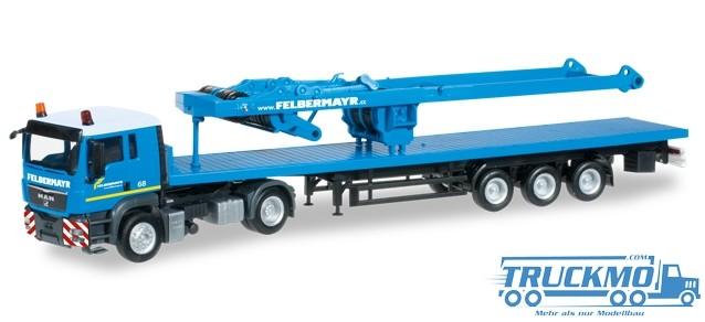 Herpa Felbermayr MAN TGS L Flachbett-Sattelzug mit SA-Bock für Liebherr LR 1600/2
