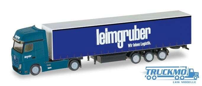 Herpa Leimgruber Mercedes-Benz Actros Gardinenplanen-Sattelzug 1:160 066785