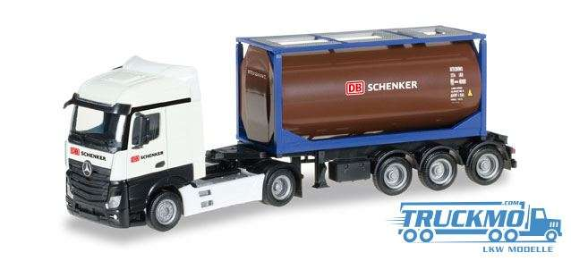 Herpa DB Schenker LKW Modell Mercedes-Benz Actros Streamspace 2.5 Tankcontainer-Sattelzug 306911