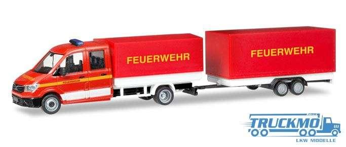 Herpa Feuerwehr MAN TGE Doppelkabine mit Pritsche und Plane und Planenanhänger 093866