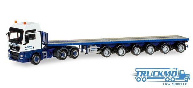 Herpa Wasel Kran MAN TGX XXL Euro 6 6x4 Ballasttrailer-Sattelzug Lkw-Modell