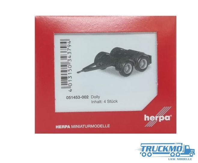 schwarz 4 Stück überlang Herpa 051453-002  Dolly für Hängerzug