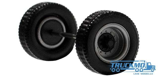 Herpa Radsatz 2 teilig silber schwarz Aufliegerachse 690151c