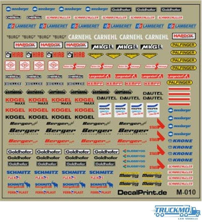 Decal Universalsatz Aufbauhersteller 12M-010