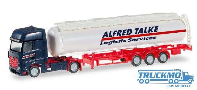 Herpa Alfred Talke LKW Modell Mercedes-Benz Actros Gigaspace Tank-Sattelzug 066488 1:160