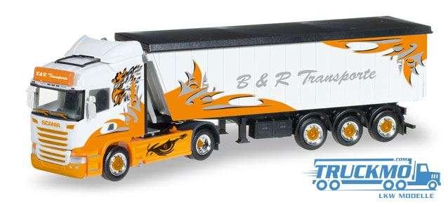 Herpa B&R Transporte / Arrow Hunter LKW Modell Scania R HL Stöffelliner-Sattelzug 306287