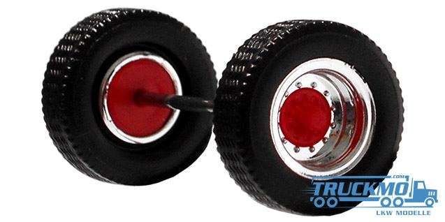 Herpa Radsatz 2 teilig chrom rot Aufliegerachse 690102c