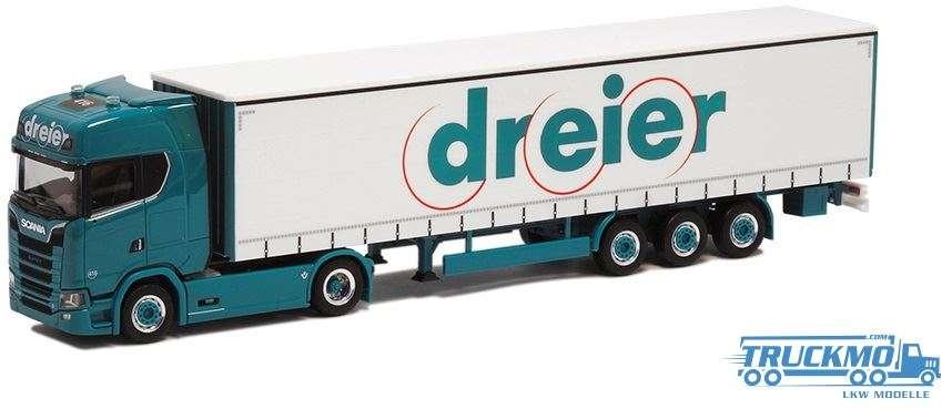 Herpa Dreier Scania CS20HD Gardinenplanen-Sattelzug 932394