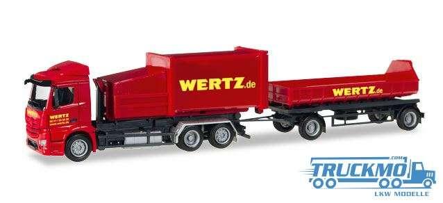 Herpa Wertz Aachen LKW Modell Mercedes-Benz Antos Pressmüllcontainer-Hängerzug 307437