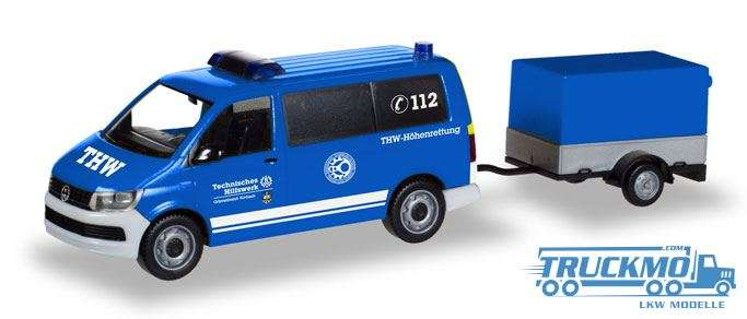 Herpa THW Korbach / Höhenrettung VW T6 Bus mit Pritschenanhänger 093668