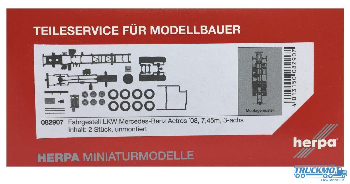 2 Stüc... herpa 083768 Fahrgestell Mercedes-Benz Actros 8x4 Baufahrzeuge Inhalt