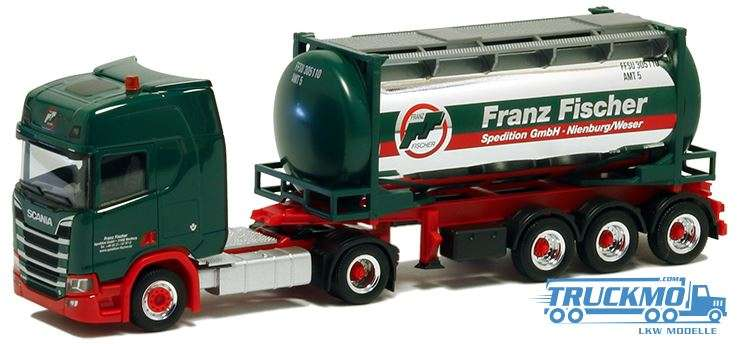 Herpa Fischer Spedition LKW Modell Scania CR20 HD 24 ft Tankcontainer trailer 5023