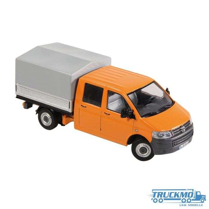 NZG VW T5 Doppelkabine / Pritsche / Plane orange 8881/65
