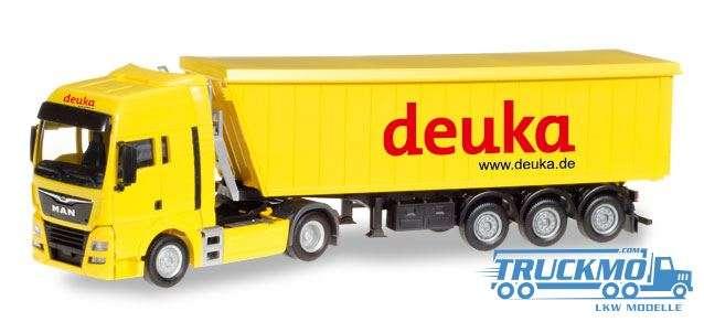 Herpa Deuka LKW Modell MAN TGX XLX Stöffelliner-Sattelzug 307901