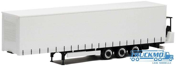 Herpa Gardinenplanen Auflieger 3achs mit Mitnahmestapler (weiß, Chassis schwarz, Felgen chrom/schwar