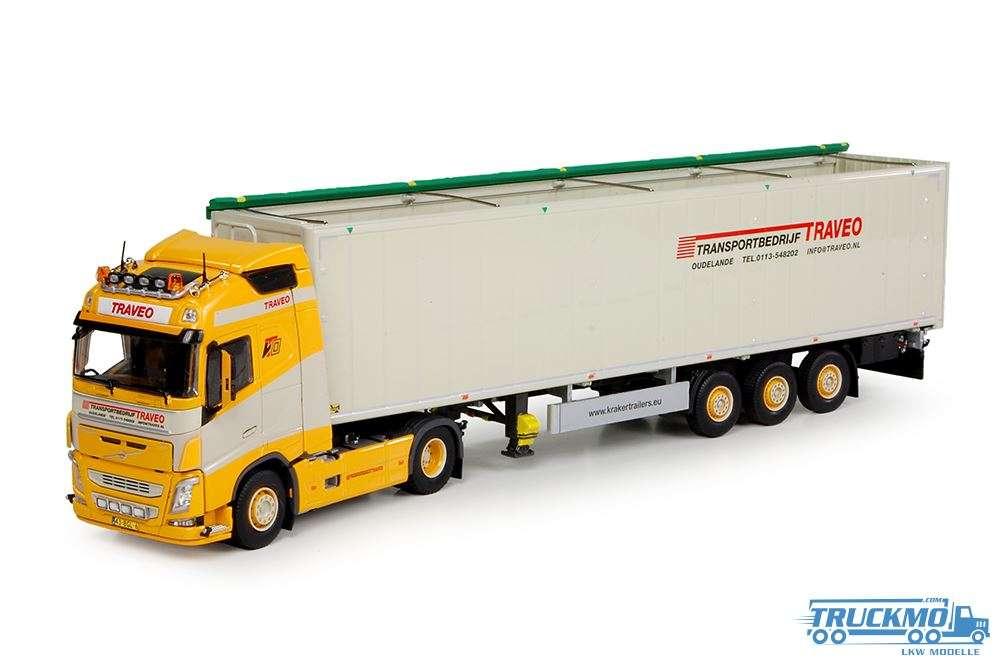 Tekno Traveo LKW Modell Volvo FH04 Globetrotter mit Cargo Floor Auflieger 70554