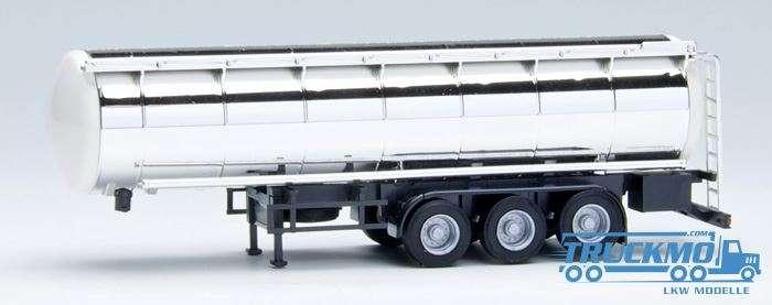 AWM Lebensmittel Chromtankauflieger 3achs Endkappen weiß, Chassis schwarz 660053